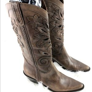 Matisse Leather Cut Out Flower Cowboy Boots